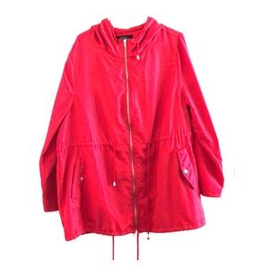 Red rain coat jacket